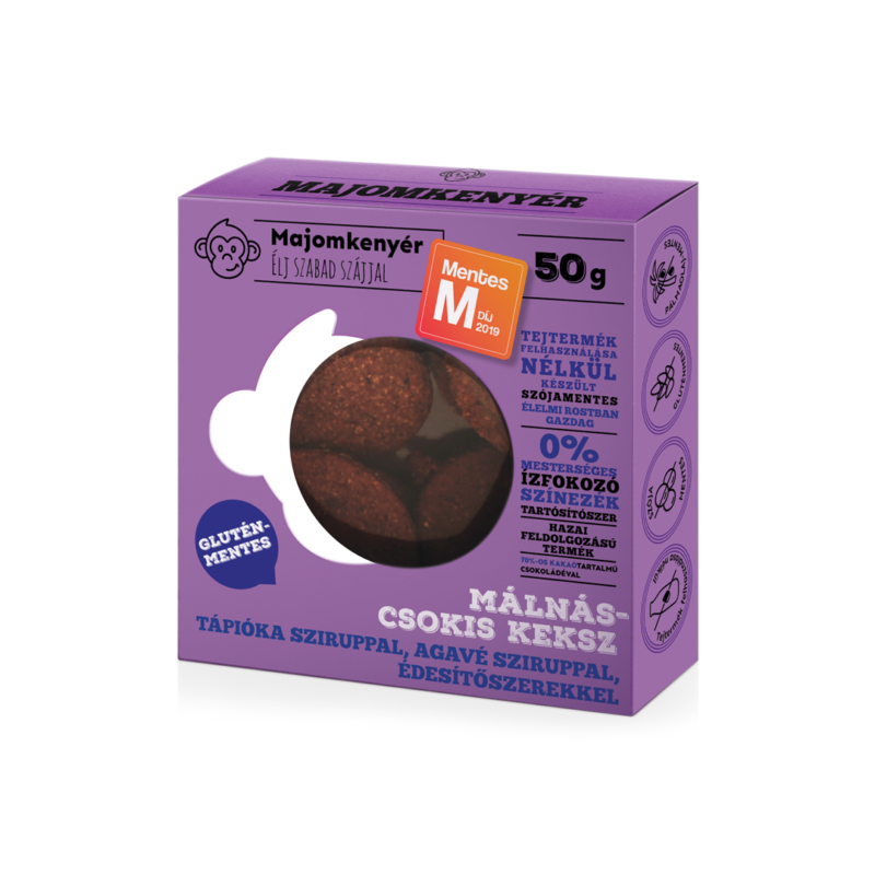 Majomkenyér Málnás-csokis paleokeksz